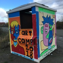 Art Camp project painted dumpsters in town.